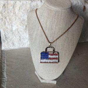 Patriotic American Flag Purse Necklace Pendant